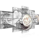 Bilder Kaffee Küche Wandbild 200 x 100 cm Vlies - Leinwand Bild XXL Format Wandbilder Wohnzimmer Wohnung Deko Kunstdrucke Grau 5 Teilig -100% MADE IN GERMANY - Fertig zum Aufhängen 012851c