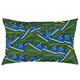Solomon Islands Flag Wave Collage Taies d'oreiller Decorative Pillow Covers Soft and Cozy, Standard Size 20'x30' with Hidden Zipper