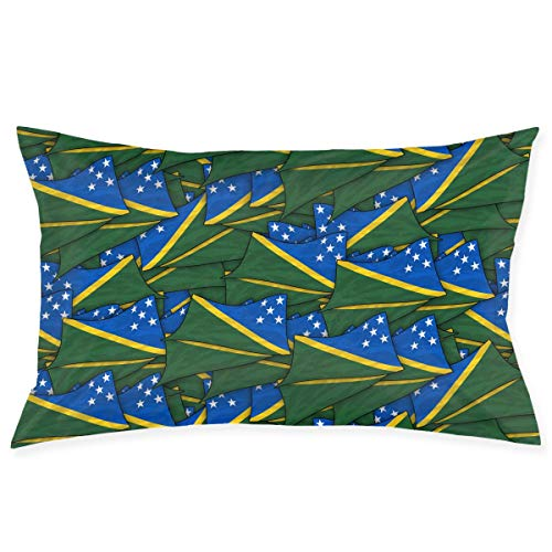 Solomon Islands Flag Wave Collage Taies d'oreiller Decorative Pillow Covers Soft and Cozy, Standard Size 20'x30' with Hidden Z