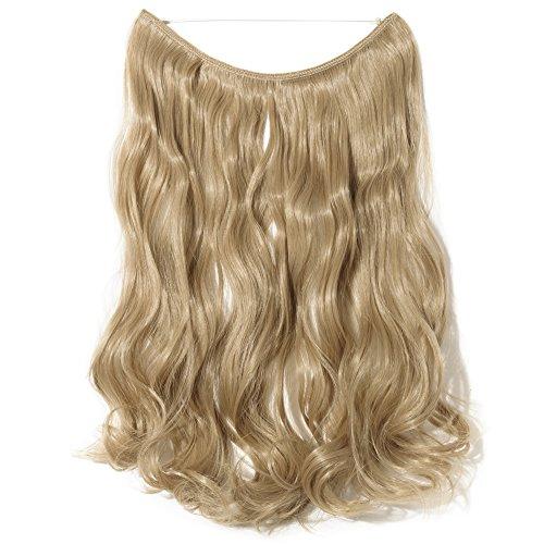 Elegante extension per capelli ricci ondulati capelli extension biondo cenere donne capelli sintetici 50,8cm–cavo trasparente/senza clip