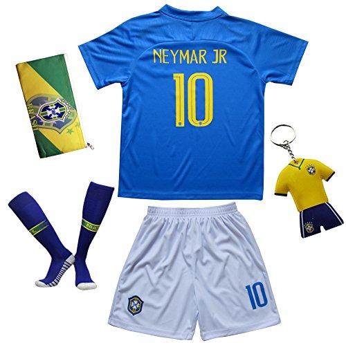 Brasilien #10 Neymar JR. Auswärts Kinder Fußball Trikot Hose und Socken (24 (7-8 Jahre))
