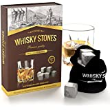 Whiskey Stone - Premium Quality Set of 9 whisky stones and a velvet storage pouch - 100% natural soapstone - Slightly chill your drinks without dilution with UK's finest whisky rocks - Perfect for a gift