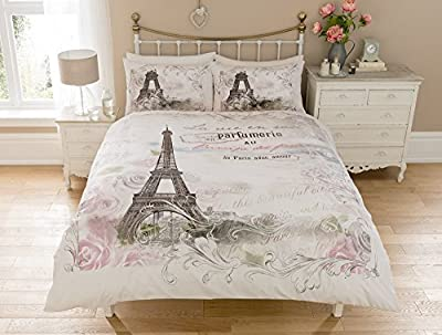 Luxury Paris Eiffel Tower Floral Flowers Roses Calligraphy Script Reversible Duvet Set Quilt Cover Bedding produced by online forever - quick delivery from UK.