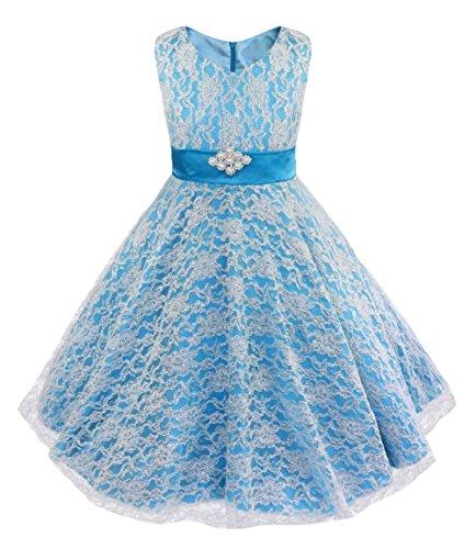 WAWALI Goldfäden Spitzen Mädchen Elegante Blume Prinzessin Kleider 4 (Cinderella Up Kleidung Dress)