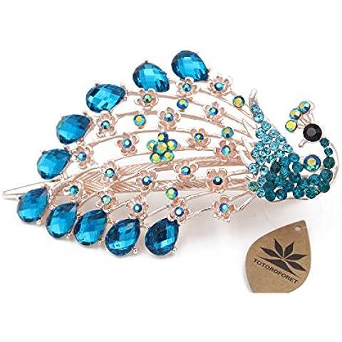 Totoroforet pavone/La fenice dalle ceneri Blu Zaffiro Victoria/stile retrò bronzo strass capelli clip/pinza, misura grande