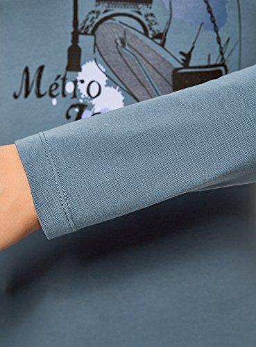 oodji Collection Femme T-Shirt sans Étiquette Manches Longues Bleu (7419P)