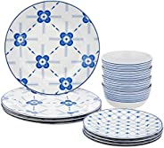 Amazon Brand - Solimo 12 Piece Dinnerware Set (Blue Floral)