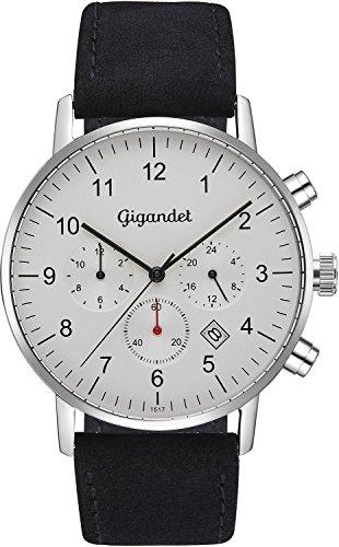 Gigandet Herrenuhr Minimalism II Armbanduhr Edelstahl Herren Zwei Zeitzonen GMT Analog Datum Lederarmband Uhr Schwarz Silber Weiß G21-001