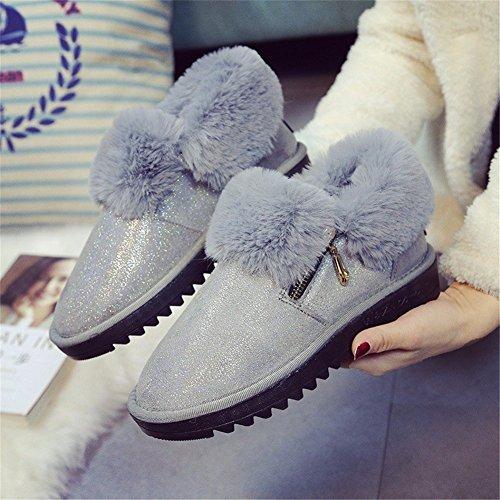 HOMEE Femmes S Chaussons Chauds Semelles Imperméable Antidérapant Maison Loisir Chaussures Automne et Hiver 35 Eu