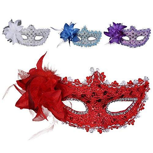 BEAUTPINE Party Kostüme Prinzessin Maske Frauen Spitze Cosplay Halloween Federn Maske ()