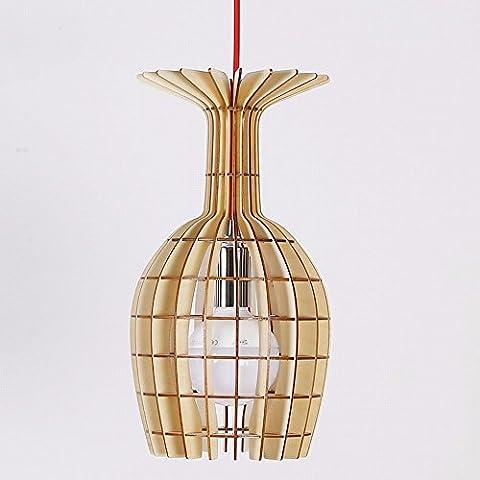 HENGXin @ Cup Creative lampadario appeso in legno lampada LED moderni soffitto in legno Ciondolo lampada luce ombra semplice ragazzino Cucina Camera da letto soggiorno sala da pranzo Droplight (nero)