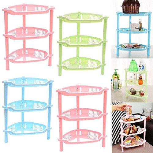 Allright 3 Tier Plastic Corner Shelf Unit Organizer Bathroom Shampoo Basket Storage Rack Pink Triangle
