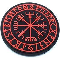 Aegishjalmr Viking Helm of Awe Terror Protection Norse Rune Viking Paintball Airsoft - Parche de PVC morale, rojo, 70mm Diameter