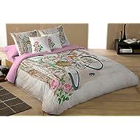 COTTON ART - funda Nordica Mod FLEURS BIKE cama de 90 (150X260cm) + 1 FUNDA DE ALMOHADA (45X110cm) ALGODÓN 100% Disponible para cama de 90 105 135 150 y 180.