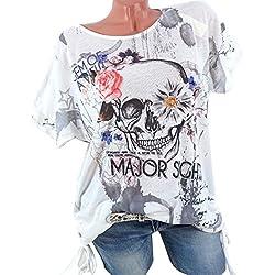 OverDose Damen Blumen Spitze Tops Frauen Kurzarm V-Ausschnitt Spitze Gedruckte Lose T-Shirt Bluse Oberteile Tees Shirt(X-c-Gray,L)