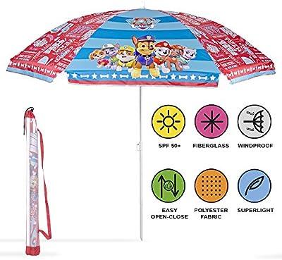 Sombrilla de playa / jardín / mar / terraza. Antiviento – Para niños y niñas con estampado de PawPatrol – Protección contra los rayos UV SPF 30+. Sombrilla Perletti.