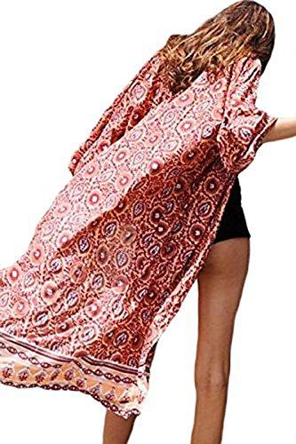 AGOGO 2017 boemo moda Donne stampa chimono cardigan camicetta Top vestito spiaggia bikini Cover Up alba indiana