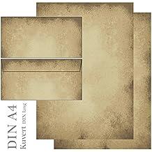 Diseño Papel Pergamino–Juego de 50piezas 25papeles de carta + 25unidades Sobres DIN Lang sin ventana 5605+ 6605