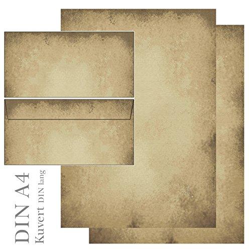 Motivpapier altes Papier Vintage - Set - Briefpapier + Briefumschläge DIN lang ohne Fenster (25 Blatt Briefpapier + 25 Kuverts) 5605+6605