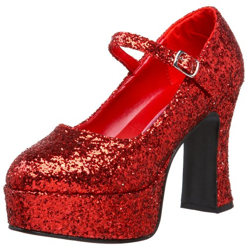 Pleaser  Mar50g/r, Damen Mary Jane Halbschuhe, Rot (red), 38 EU ( 5 UK (Glitter Jane Mary Schuhe Rosa)