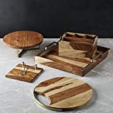Nestroots Natural Wooden Handcrafted Dining Table Serveware Set Napkin Holder/Serving Platter/Serving Tray/Cake Stand/Spoon Stand - Set Of 5