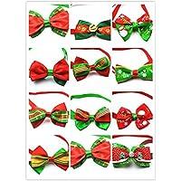 Yuver (TM) 50pcs / set cane arco modelli di Natale 12 colori assortiti mano pet bow tie festa di Natale cucciolo carino cravatta