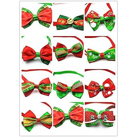 Yuver (TM) 50pcs / perro de establecer patrones de arco de Navidad 12 colores surtidos lazo hecho a mano arco mascota festival de Navidad lindo perrito