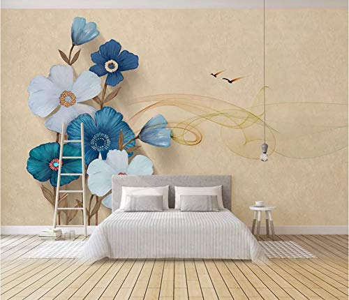 VVBIHUAING 3D Wand Aufkleber Wandbilder Tapete Dekorationen Blaue Und Weiße Blumen Art Bar Kinderküche (W) 400x(H) 280cm -