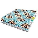 Feder Traumfänger Minky Babydecke Kuscheldecke Krabbeldecke Decke Super weich und flauschig Handarbeit (75x100cm, Hund Streifen Grau)