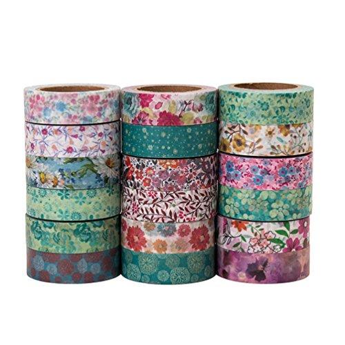 Blumen Washi Tape Set Japanisches Papier Masking Tape, perfekt für Scrapbooking, DIY Handwerk und Geschenkpapier - 10 Meter Länge - mit Kostenlosen Siegel (Niedliche Halloween-kunst Und Handwerk)