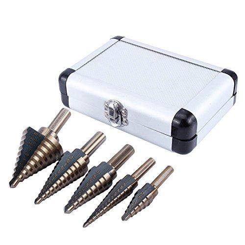 Yosoo 5Pcs HSS Forets étagé Titanium Mèche conique Trépan à redan kit Outil électrique avec Boîte range