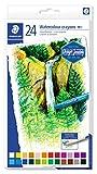 Staedtler Craies aquarellables de qualité professionnelle, Pour dessin et peinture, Étui en carton avec 24 couleurs vives assorties, 223 C24