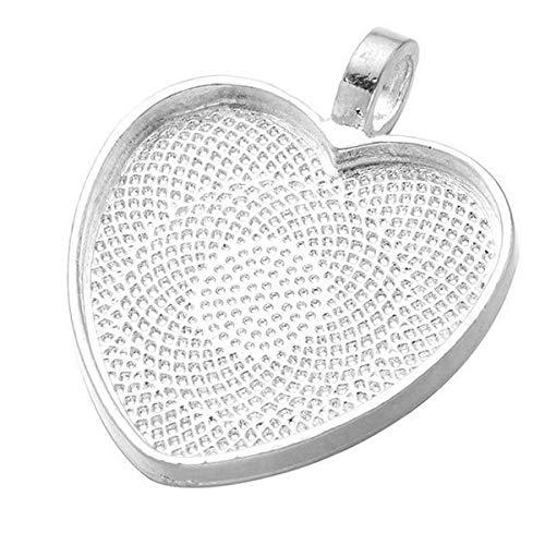 3pcs Silber-Valentinstag-Herz-Metall-Rahmen 25mm Cabochon-Schacht-Einstellung Für Epoxid-Uv-Harz, Polymer-Metall-Anhänger-Halskette-Schmuck Diy 27.60 mm