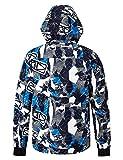 NEWISTAR Niños Ski Outwear Desmontable con Capucha Bluish Gris Impermeable a Prueba de Viento Transpirable para Hombre Tablas de Snowboard Chaqueta Grande