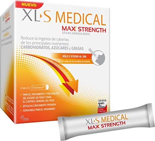 XL-S Medical Max Strength - Bloqueador de la absorción de Carbohidratos, Azúcares y Grasas, para Adelgazar, Reduce la ingesta de Calorías y Antojos - 60 Sticks, 1 Mes de Tratamiento