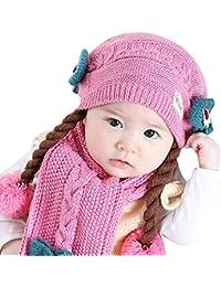 438dcbfa463 CATSAP Baby Girls Cute Beanie Scarf Set Winter Ski Hat with Earflap Pompom  Braid Crochet Knit