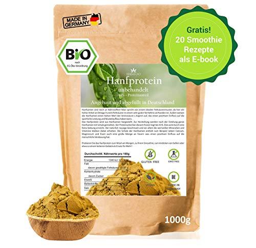 BIO Hanfprotein aus DE 1kg + Gratis Smoothie Rezeptbuch (E-Book), Vegan Protein, DE-Öko-070, Protein aus Hanfsamen, Low Carb (Kuchen Bestellen)