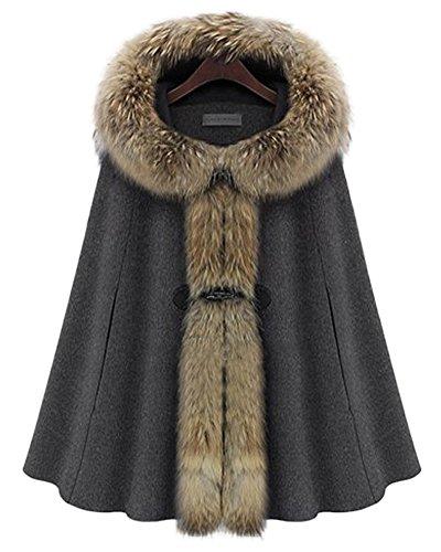 Queenshiny® Damen Wolle und Kaschmir Mantel Jacken Poncho Cape mit Waschbär pelz Kragen Mit Kapuze Grau 42