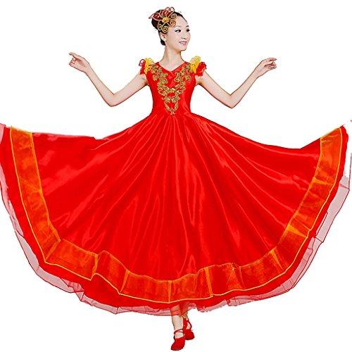 Byjia Frauen Flamenco Kleid Rock Öffnung Tanz Blühende Blüte Big Swing Chorus Moderne Stierkampf Klassische Bühne National Performance Kostüme Red XXXL (Irische Tanz Kostüm Für Erwachsene)
