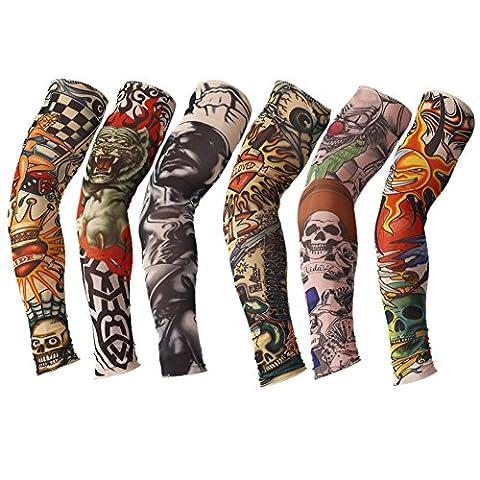 TININNA 6 Stück Unisex Nylon Tattooärmel Tätowierung Ärmel Strümpfe Arm Sleeves Tattoo-Armling B