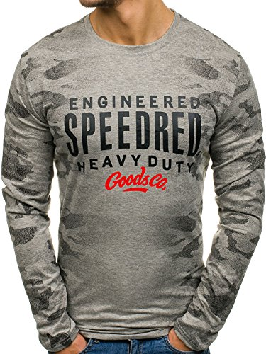 BOLF Herren Langarmshirt Longsleeve Camo-Muster J.Style SX055 Grau XXL [1A1] (Camo Henley Shirt)