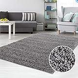 carpet city Teppich Shaggy Hochflor Langflor Flokati Einfarbig/Uni aus Polypropylen in Dunkelgrau für Wohn-Schlafzimmer, Größe: 140x200 cm