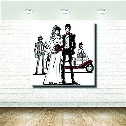 Stampa su Tela Canvas - Formato 120X120 Solo Tela - Stampa in qualita fotografica - Quadri Fumetti & Cartoni - Lupin Margot Nozze Bianco Nero
