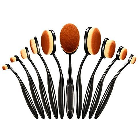 Oval Make-up Pinsel Set, Omorc 10 Stück Professionelle Foundation Concealer Verblender Pinsel Flüssiges Pulver Creme Kosmetik Pinsel, Zahnbürste geschwungene Make up