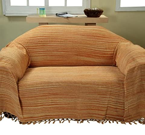 Homescapes Bed Sofa Throw Cotton Chenille Tie and Dye Rust 150 x 200 cm or 60 x 79 inches