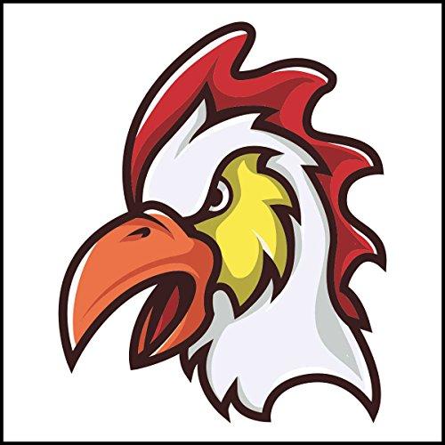 Fliesenaufkleber Fliesentattoos für Bad & Küche - Küchenfliesen für weiße einzelne Fließen empfohlen 10x10 cm - Sport Maskottchen Logos - Chicken Head Sport Maskottchen Logo