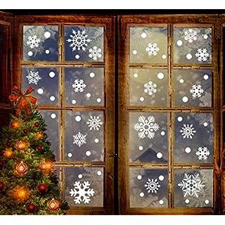 Amytech 190 + Schneeflocken Fensterbild Abnehmbare Fensterdeko Statisch Haftende PVC Aufkleber Winter Dekoration (190 pcs)