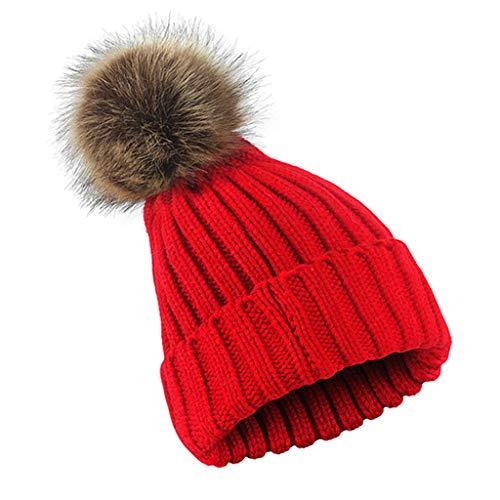 Dabixx Strickmütze, Frauen Männer Winter Gerippte Strickmütze Einfarbig Wollmuffin Beanie Cap verdicken mit niedlichen Flauschigen Pompom Ball Beanie mit abnehmbarem Chunky Faux - rot -