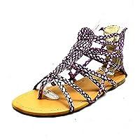 SendIt4Me Lilac Snake Effect Multi Strap Flat Gladiator Sandals