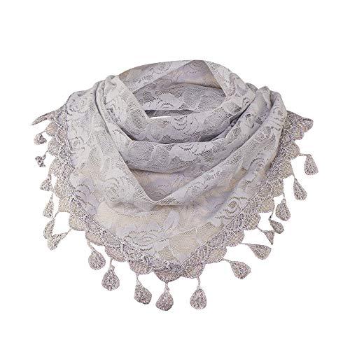 (POPLY Damen Schal, Frauen Spitze Quaste Rose Floral Hollow Scarf Schal Lady Wraps Tanzen Mode Böhmen Schals)